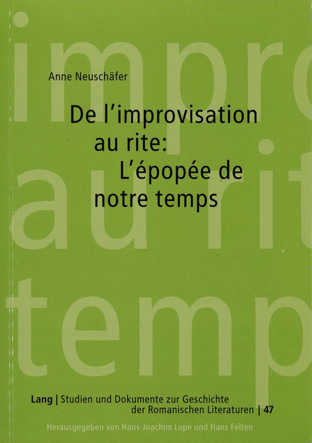 livre De l'improvisation au rite en français