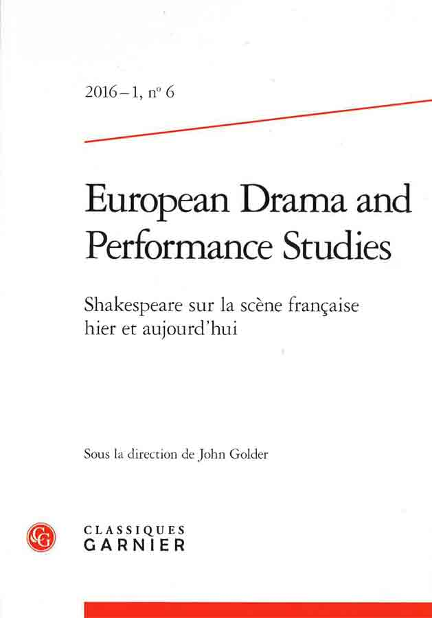 livre European Drama and Performance Studies n°6 en français