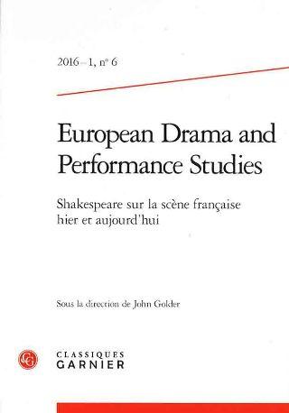 livre European Drama and Performance Studies n°6 2016